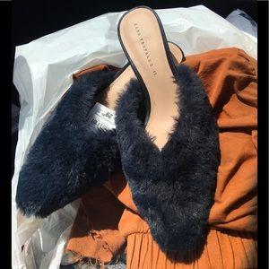 BNWT Steel Blue Zara furry kitten heels